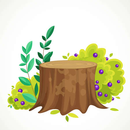 Old stump with a bush next to it with green leaves and purple berries vector drawing isolated on white background Ilustrace
