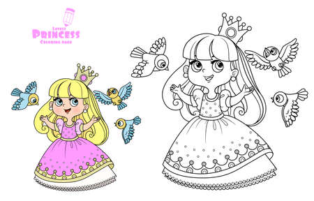 Cute princess in a pink dress sings for birds outlined and color for coloring book Vectores