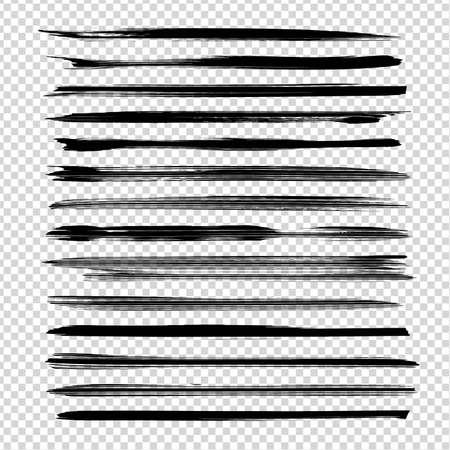 Textured long thin straight black brushstrokes isolated on imitation transparent background
