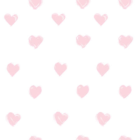 Seamless pattern from abstract pink heart shapes brushstrokes on white background