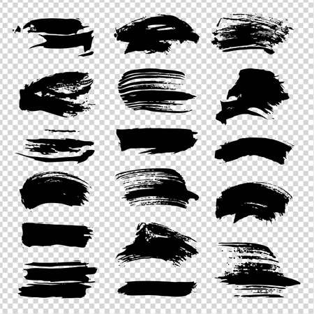 Abstract textured black straight brush strokes isolated on imitation transparent background