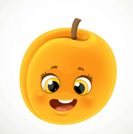 Cute little cartoon emoji orange apricot isolated on white background Ilustrace