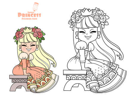 Funny princess in peach dress and flowers in hair sitting on a bench outlined and color for coloring book