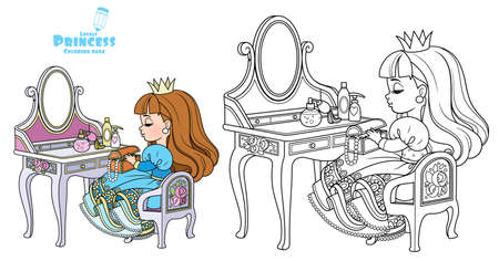 Cute princess sitting behind dressing table outlined and color for coloring book