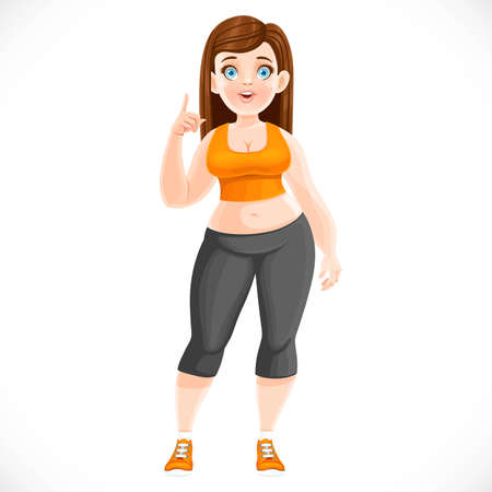 Cute fat girl in the process of losing weight in a tracksuit isolated on white background