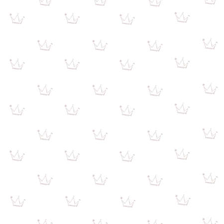 Seamless pattern from delicate brush strokes crowns shape on white background