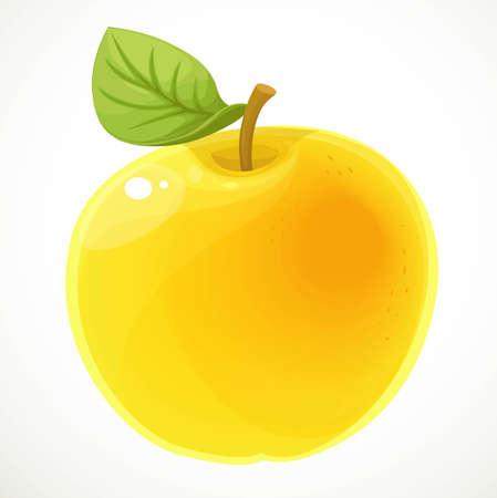 Yellow apple isolated on white background Ilustrace