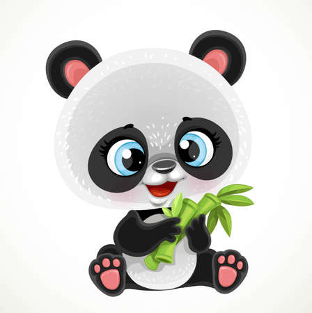 Cute cartoon baby panda bear eating bamboo isolated on a white background Illustration