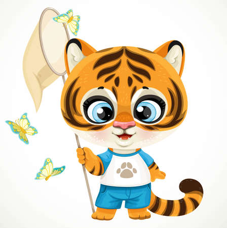 Cute cartoon baby tiger cub holding a butterfly net in its paw surrounded by butterflies isolated on a white background Ilustrace