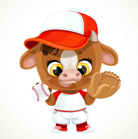 Cute cartoon baby calf in baseball uniform with ball and glove isolated on a white background