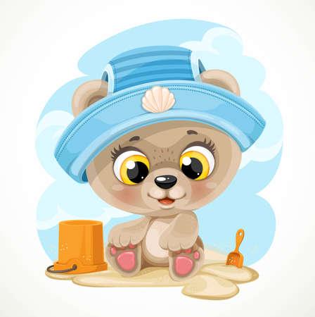 Cute cartoon baby bear with a bucket and a shovel on the beach