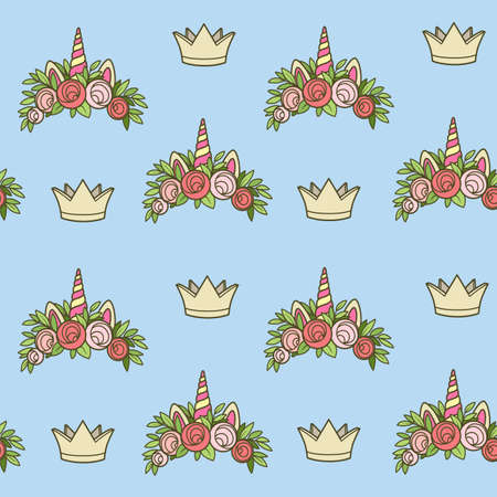 Seamless pattern from unicorn tiaras various shapes with flowers on blue background Ilustrace