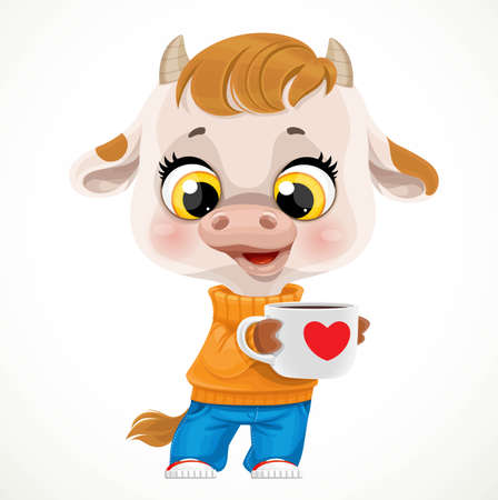 Cute cartoon baby calf in orange sweater with cup of tea or coffee isolated on a white background