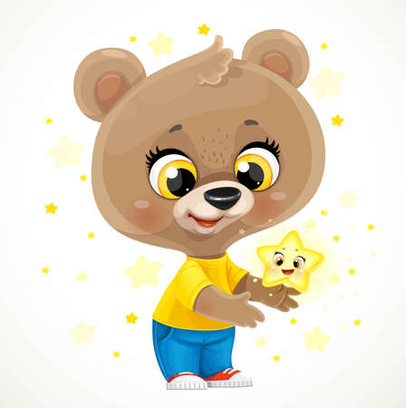 Cute cartoon baby bear with a golden star isolated on a white background