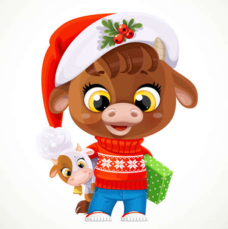 Cute cartoon baby calf in red christmas sweater with a gifts in paws isolated on a white background Ilustrace