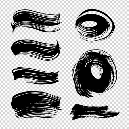 Black ink abstract textured straight and round strokes on imitation transparent background