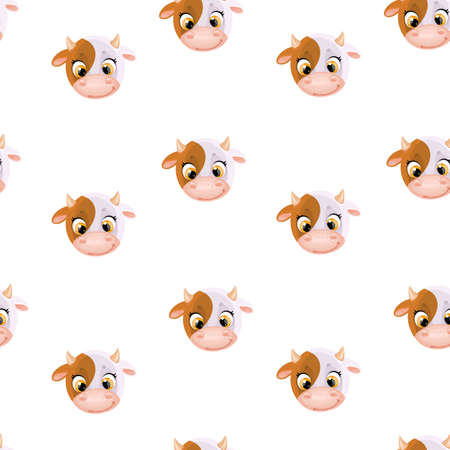 Seamless pattern from cute cartoon cow head on white background