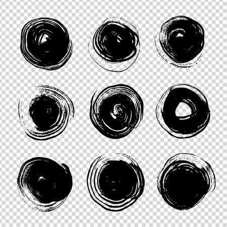 Black ink abstract round textured strokes on imitation transparent background