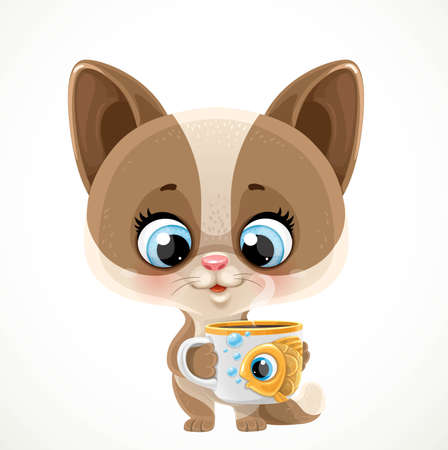 Cute cartoon baby cat with a cup of tea or coffee isolated on a white background