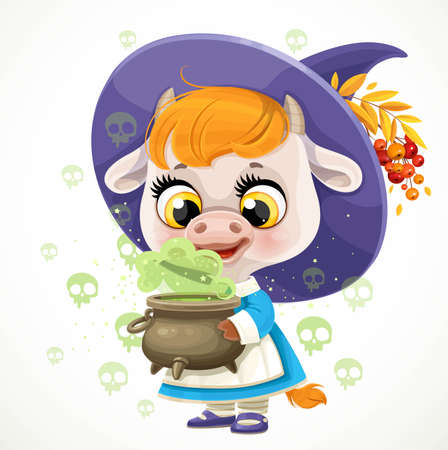 Little cow girl witch with cauldron of potion  isolated on a white background