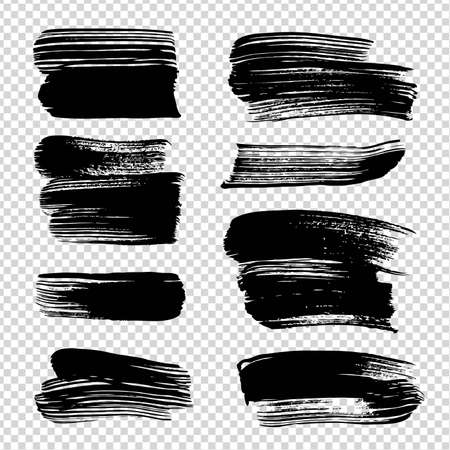 Black ink abstract textured straight strokes on imitation transparent background