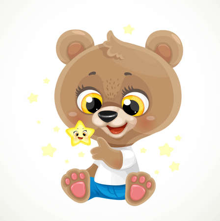 Cute cartoon baby bear with a golden star sit on a white background