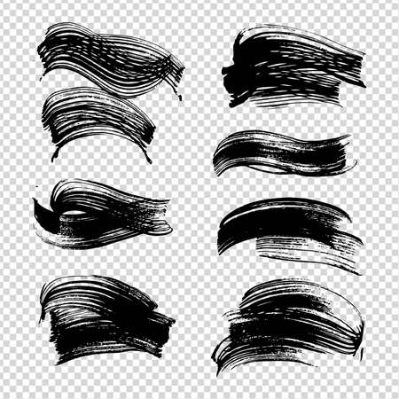 Black ink abstract figured textured strokes on imitation transparent background