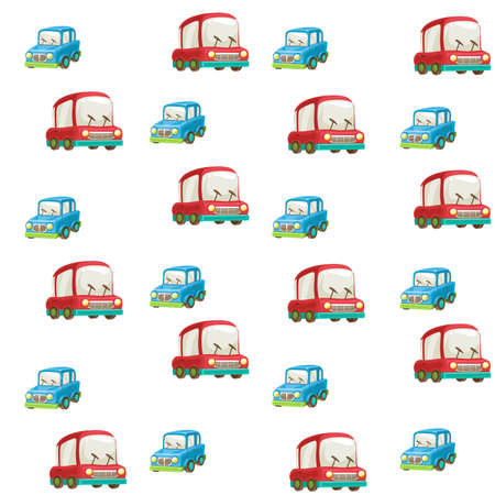 Seamless pattern from toy blue and red cars on white background Ilustrace