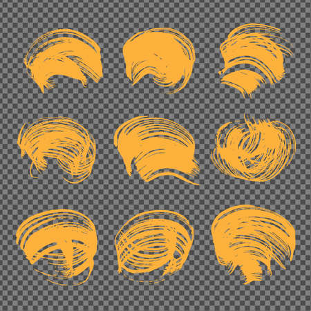 Orange abstract figured textured strokes on imitation transparent background