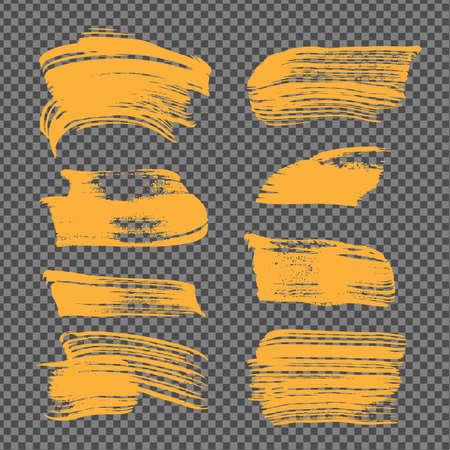 Orange abstract textured strokes on imitation transparent background Ilustrace