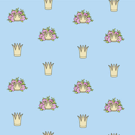 Seamless pattern from tiaras various shapes on blue background