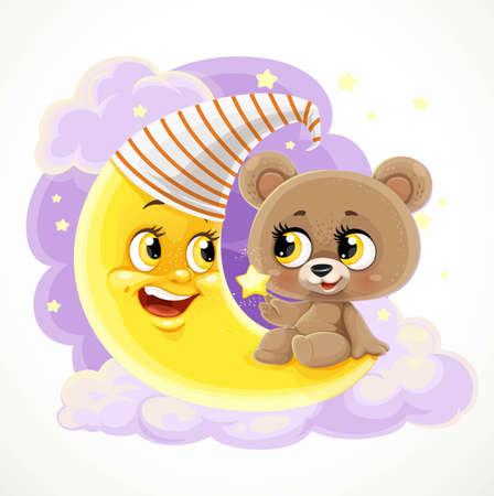 Cute teddy bear sitting on a crescent moon among clouds and stars