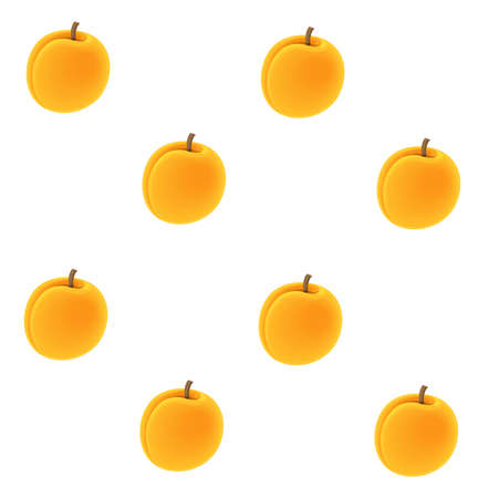 Seamless pattern from fruits apricot on white background
