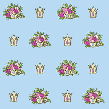 Seamless pattern from tiaras with flowers on blue background Ilustrace