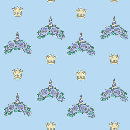 Seamless pattern from blue unicorn tiaras various shapes with flowers on blue background Ilustrace