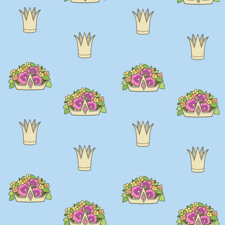 Seamless pattern from gold tiaras various shapes with flowers on blue background Ilustrace