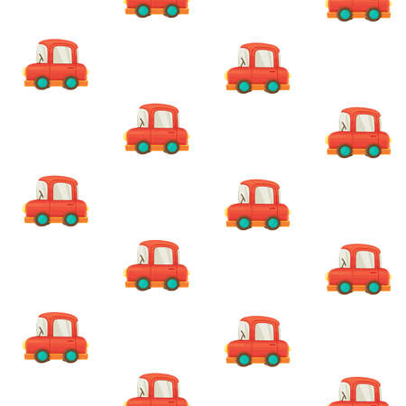 Seamless pattern from toys for toddlers red cars on white background