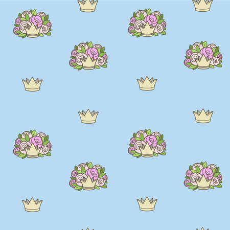 Seamless pattern from crowns various shapes with flowers on blue background Ilustrace