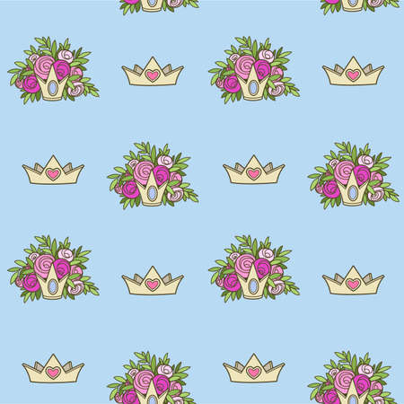 Seamless pattern from tiaras various shapes with flowers on blue background