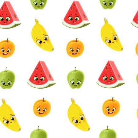 Seamless pattern from cute little cartoon emoji fruits banana, watermelon, apricot, apple on white background