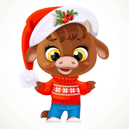 Cute cartoon baby calf in red christmas sweater isolated on a white background Ilustrace