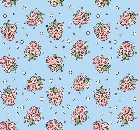Seamless pattern from roses with black outline