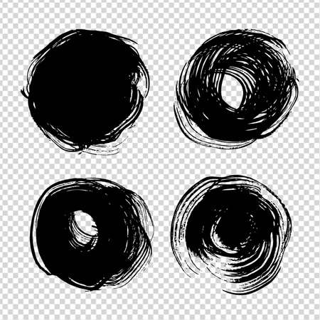 Circle black ink abstract textured strokes on imitation transparent background Ilustrace