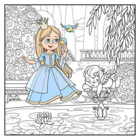 Cute cartoon princess sings with the birds in palace park near the pond with a sculpture of Cupid outlined picture for coloring page Stock Photo
