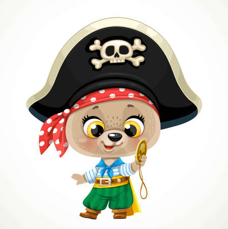Cute cartoon baby bear dressed in pirate costume with a gold doubloon isolated on a white background