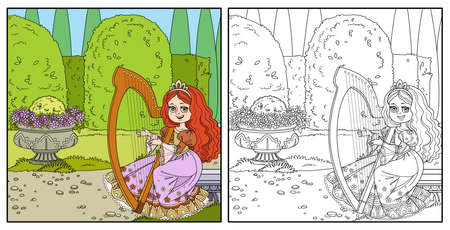 Beautiful princess playing the celtic harp in palace park with topiary and flowers color and outlined for coloring