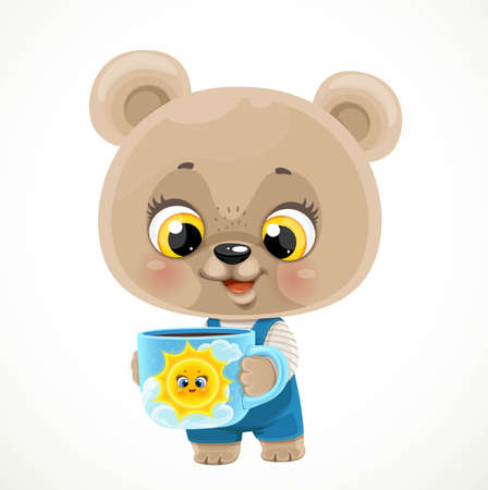 Cute cartoon baby bear with a cup of tea or coffee on a white background