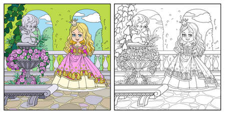 Cute cartoon princess in palace park near garden marble vase with a statue of Cupid color and outlined for coloring page Иллюстрация