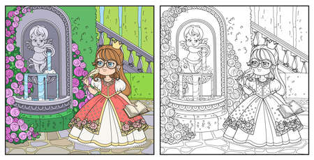 Cute cartoon girl with notebook and writing pen near fountain Cupid with a jug rose color and outlined for coloring Ilustração