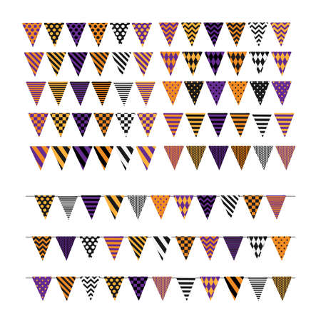 Set of multicolored flags with various geometric ornaments for decorating Halloween design isolated on white background